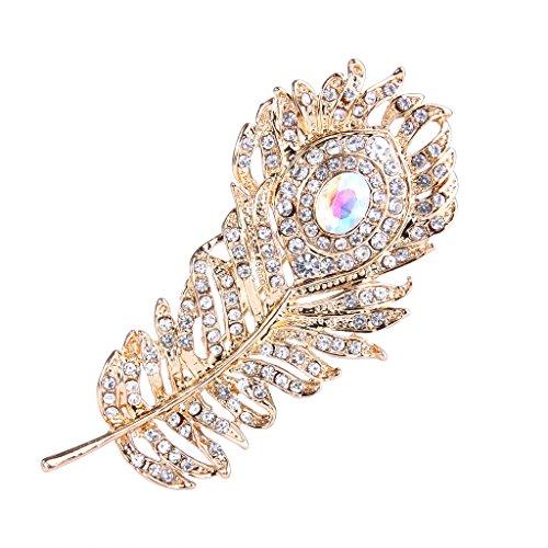 - EVER FAITH Austrian Crystal Adorable Peacock Plume Brooch Clear w/ Iridescent Clear AB Gold-Tone