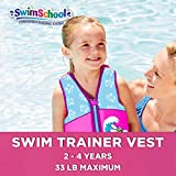 SwimSchool New & Improved Swim Trainer Vest, Flex-Form, Adjustable Safety Strap, Easy On & Off, Small/Medium, up to 33 Lbs., Pink/Aqua