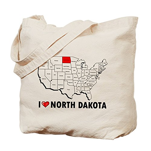 CafePress–I Love Dakota del Norte–Gamuza de bolsa de lona bolsa, bolsa de la compra