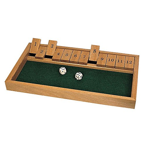 "Bits and Pieces - Wooden Shut the Box - 12 Dice Game Board - Classics Tabletop Popular English Pub Game - Board Measures 7-3/4"" x 14"" x 1-1/4"" - Includes 2 Dice and Instructions"