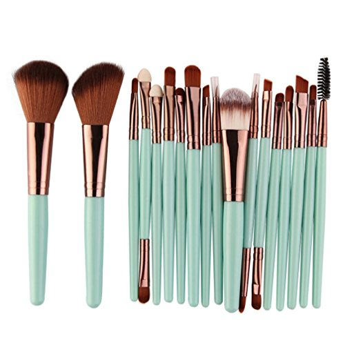 Makeup Brush Set, BSGSH 18 Pieces Cosmetic Brushes Kabuki Foundation Face Powder Blush Eyeshadow Concealer Eyeliner Lip Brushes Makeup Brush Kit with Wooden Handle (Green)