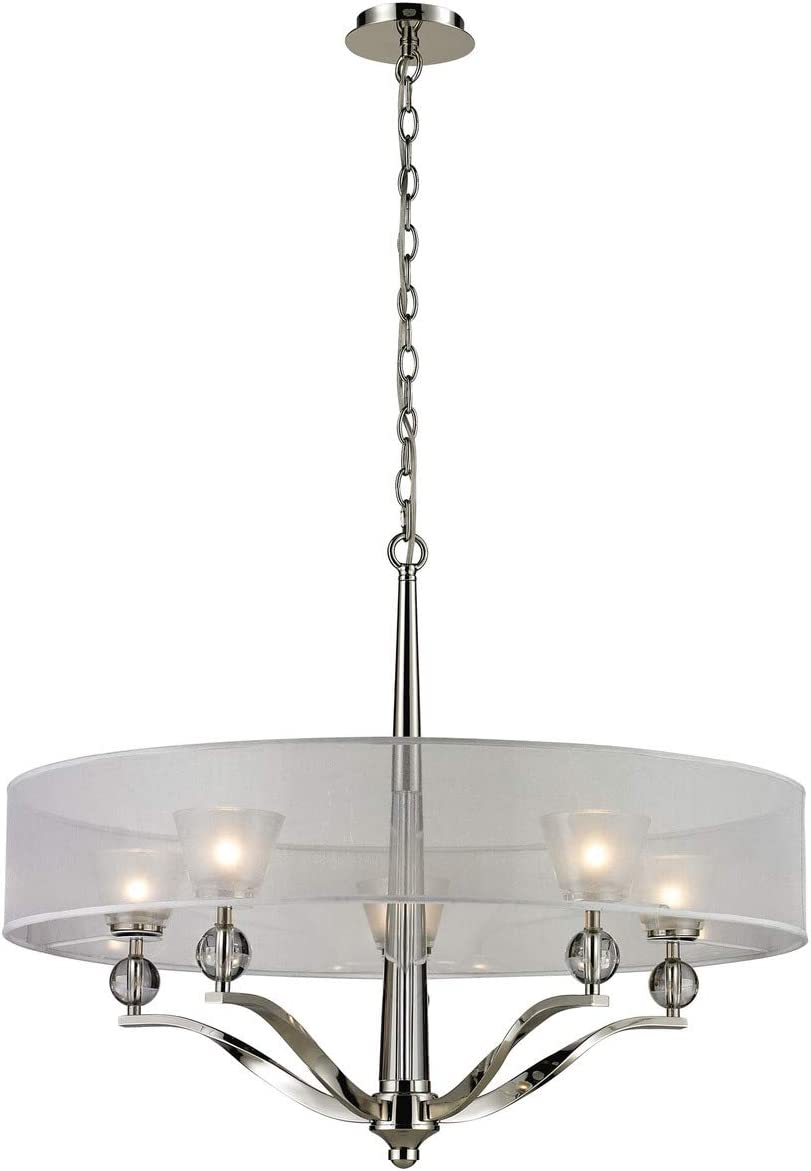 Elk 31292 5 Corisande 5-Light Chandelier with Clear Glass Shade, 30 x 30 x 24 , Polished Nickel Finish