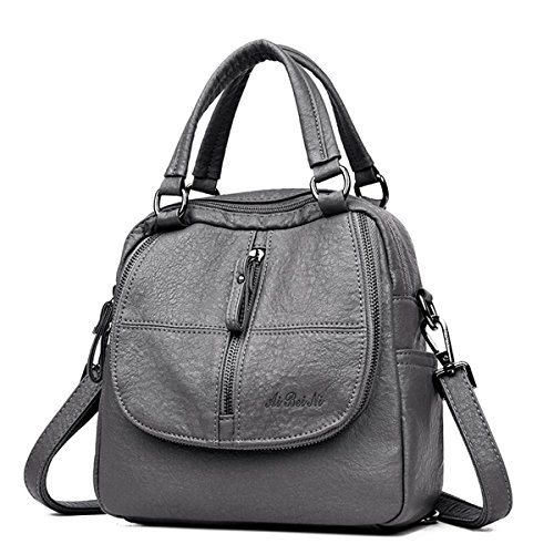 Travel Ladies Grey Handbag Multifunction Purse Backpack Bag Women Backpack Leather JOSEKO PU Shoulder Washed A8WzFOwqO
