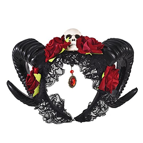Xiaolanwelc SteampunkGothic Devil Floral Horns Headpieces Halloween Skull Accessories with Veil Fancy Dress Hair Accessories