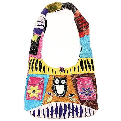 Handmade Sling Crossbody Bohemian Patterns Hippie Cotton Bag Shoulder 2047 Owl Variety OOYwqBU