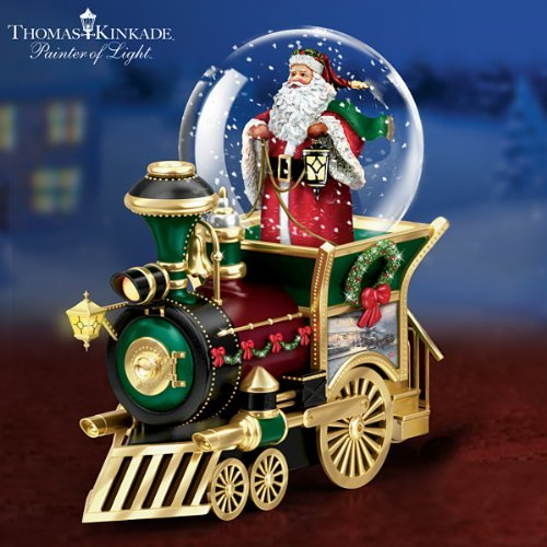 Thomas Kinkade Santa Claus Is Comin' To Town Musical Snowglobe