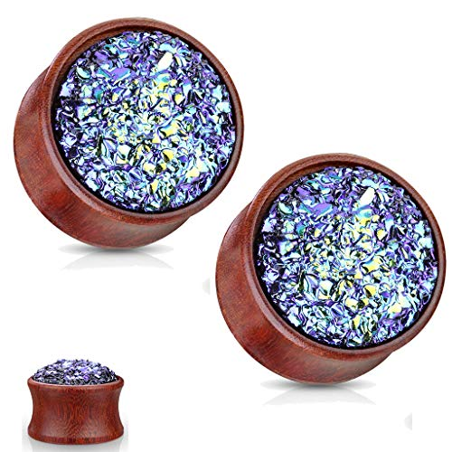MoBody One Pair Natural Wood Druzy Stone Jeweled Double Flared Ear Tunnel Expander Stretching Plug 2G-16mm (00G (10mm)) ()