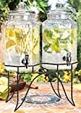 Home Essentials 1842 Del Sol Hammered Jug Beverage Dispenser with Rack, Set of 2, 10lb, Clear