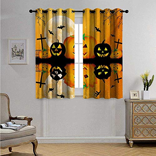 Halloween Blackout Draperies for Bedroom Spooky Carved Halloween Jack o Lantern and Full Moon with Bats and Grave Lake Blackout Drapes W72 x L45(183cm x 115cm) Orange Black -