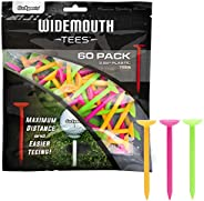 """GoSports 3.25"""" Widemouth Plastic Golf Tees 60 Tee Player's Pack Max Distance and Easier Teeing"""