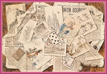 newspapers poster and frame plastic french newspaper collage postcards trompe l