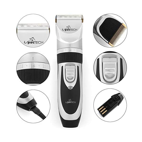 Pet Union Professional Dog Grooming Kit - Rechargeable, Cordless Pet Grooming Clippers & Complete Set of Dog Grooming Tools. Low Noise & Suitable for Dogs, Cats and Other Pets 6