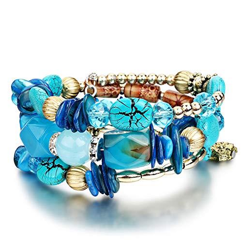 Multilayer Colorful Stone Stackable Bracelets for Women Wristband Mens Jewelry Gift liujun Bohemian Beaded Bracelets for Women Friendship Charm Bracelets for Teen Girls