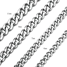 """High Polished 6-11MM Curb Chain Stainless Steel Link Necklace Jewelry for Mens Womens 16-36"""""""