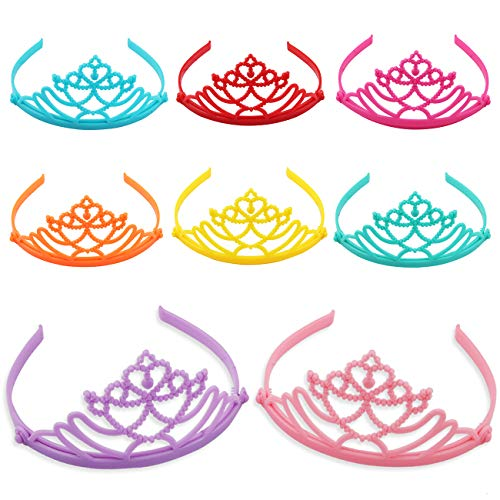 Candygirl 8 Pack Dress-Up Crown Party Favor Plastic Headbands Tiaras for Girls Costume Role Play DIY Princess Haibands (8PCS -