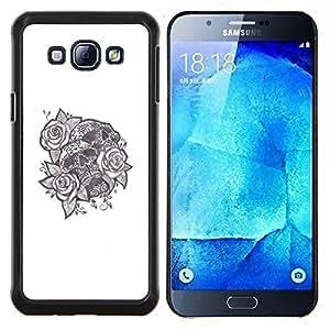 "Be-Star Único Patrón Plástico Duro Fundas Cover Cubre Hard Case Cover Para Samsung Galaxy A8 / SM-A800 ( Tinta del tatuaje Cráneo Negro Rosa Blanco Amor"" )"
