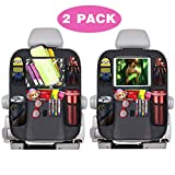 Car Backseat Organizer 2 Pack for Kids with Touch Screen Tablet Holder, Waterproof Kick Mat, Back Seat Protectors fit Car/Truck/SUVs, Storage Pockets for Travel/Business,Car Accessories for Stuff