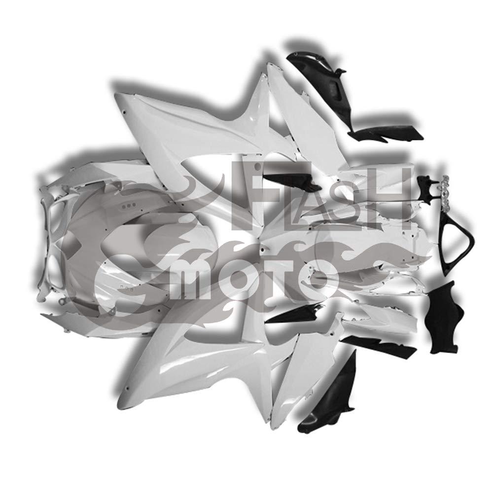 FlashMoto suzuki 鈴木 スズキ GSX-R600 GSX-R750 K8 2008 2009 2010用フェアリング 未塗装 オートバイ用射出成型ABS樹脂ボディワークのフェアリングキットセット 無塗装   B07M5TCP9K