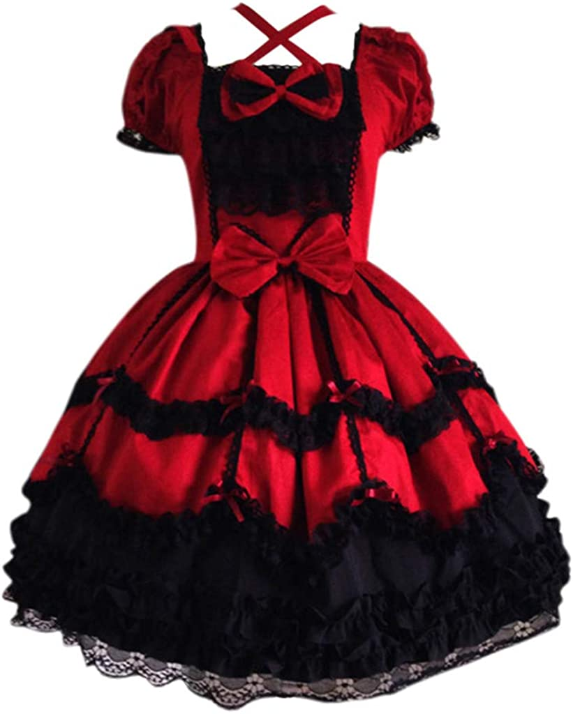 Modaworld carnevale Cosplay Costume Vestito Lolita Dress Maid Donna con Arco Anime Gotico Abito per Partito