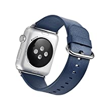 Mifa Apple Watch Series 1 and 2 Band Genuine Premium Grade Leather Band Multiple Colors: Black, Pink, and Orange - Leather Strap High Quality Stainless Steel Clasp for Apple Watch (Blue) 38mm