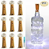 LXINGS Pack of 9 Cork Shape Wine Bottle Lights,Battery Operated 46cm(18in) 10LED Silver Wire Starry Rope Fairy Lights For Valentine's Day Wedding Party Indoor Outdoor Decoration(Pure White)
