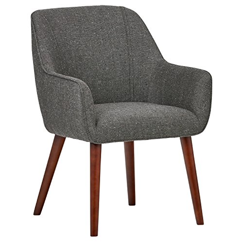 "Rivet Julie Mid-Century Swope Accent Dining Chair, 23.6"" W, Ash Grey"
