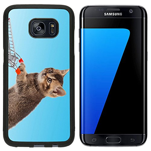 Luxlady Premium Samsung Galaxy S7 Edge Aluminum Backplate Bumper Snap Case IMAGE ID: 26696605 british cat with shopping cart