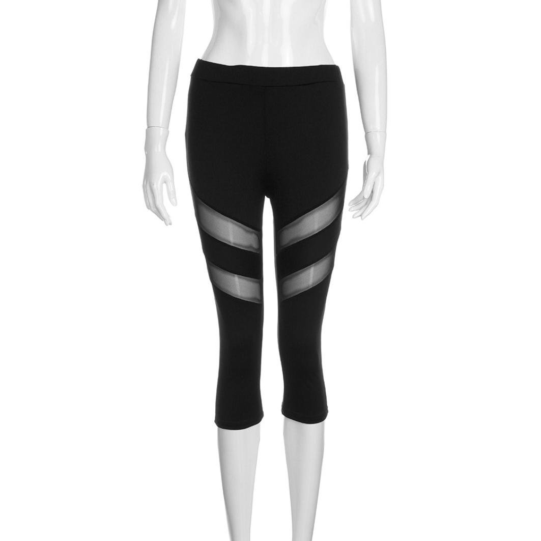 Yoga Hose damen Kolylong/® Frauen hohe Taille elastische Sport Mesh Yoga Hosen Shorts Tight workout Fitness pants Leggings Kurze Hose