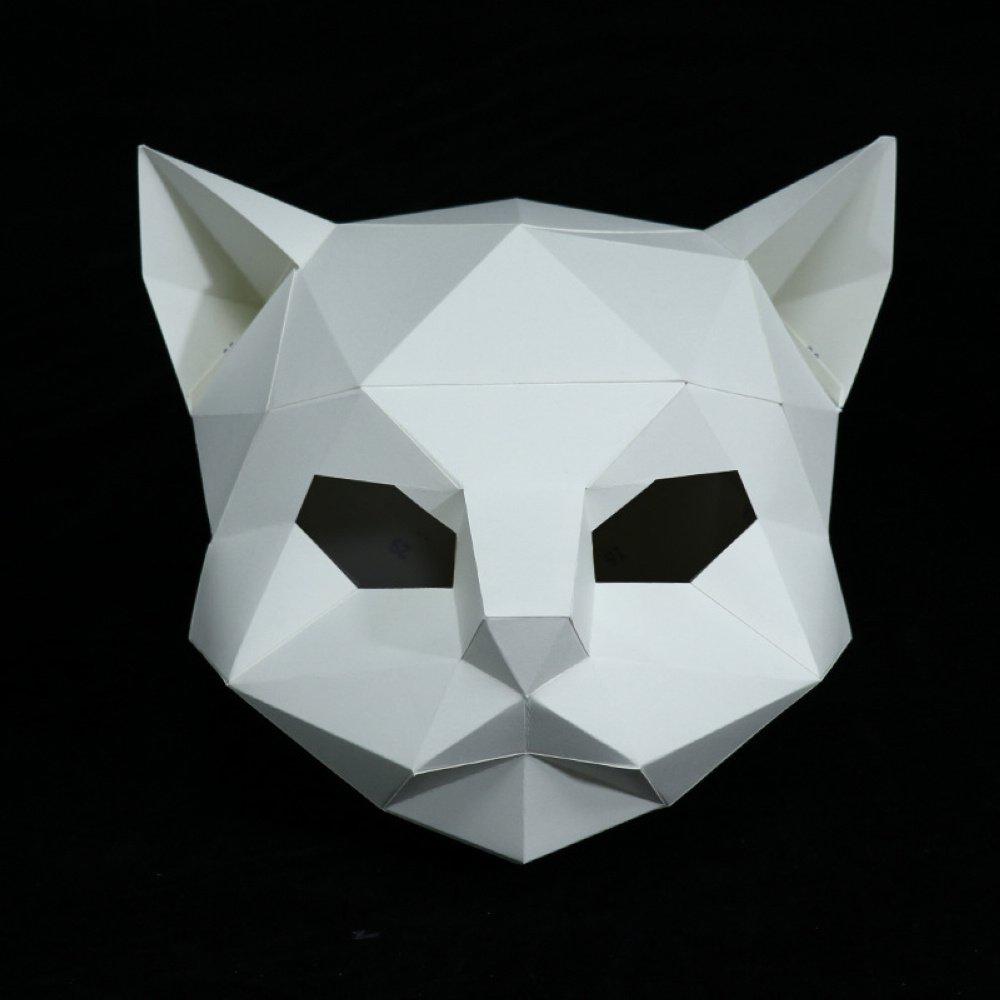 Maxleaf 3D Máscara de papel Cabeza de Animal Moldes DIY Fiesta de Halloween Costume Cosplay Facial Paper-Craft Kit Cat Design: Amazon.es: Hogar