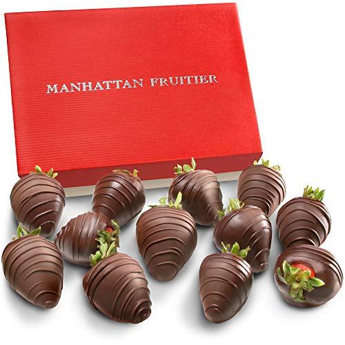 - Manhattan Fruitier Belgian Dark Chocolate Dipped Strawberries, 12 Count