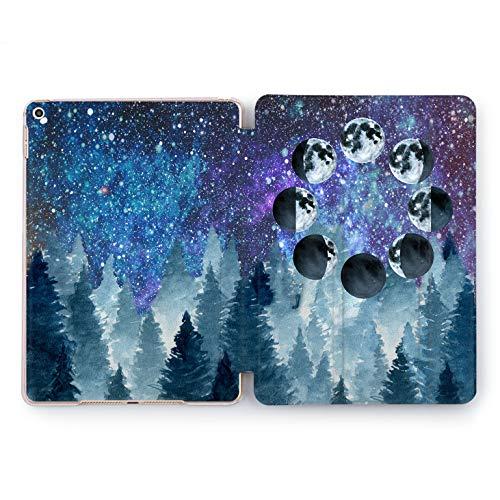 Wonder Wild Night Dark Star Sky Forest iPad 5th 6th Generation Tablet Nature Mini 1 2 3 4 5 Air 2 Pro 10.5 12.9 2018 2017 9.7 inch Smart Cover Trees Plants Space Purple Blue Green Design Universe -