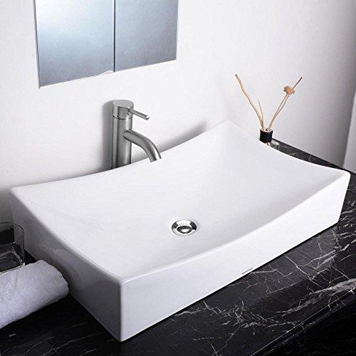 Aquaterior-26Lx15-58Wx5-13H-Rectangle-White-Porcelain-Ceramic-Bathroom-Sink-wFree-Chrome-Drain