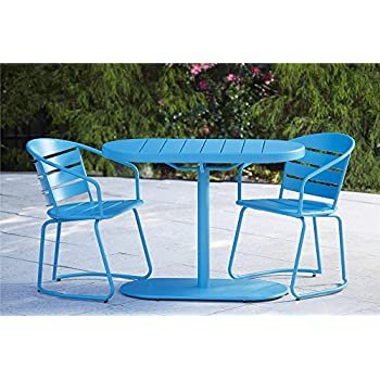 Cosco Outdoor 3 Piece Metro Retro Nesting Bistro Steel Patio Furniture Set,  Assembled, Teal