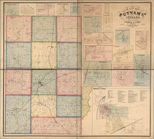 1864 Map of Putnam Co., Indiana - Size: 22x24 - Ready to Frame - Indiana | Putnam County | Indiana (County Indiana Map)
