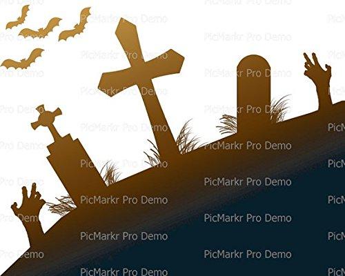 1/4 Sheet - Halloween Party Scary Graveyard - Edible Cake/Cupcake Topper!!! (Graveyard Halloween Cupcakes)