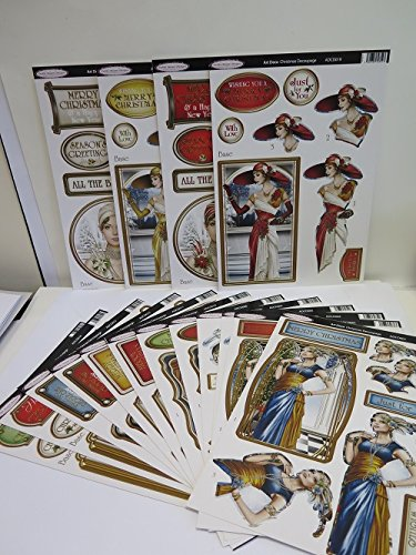 16 Designs Debbi Moore Art Deco Christmas Decoupage Die Cuts Cardmaking AM917 Jackdaw Express