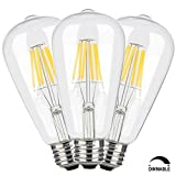 CRLight 6W Dimmable Edison Style Vintage LED Filament Light Bulb, 3200K Soft White 600LM, E26 Medium Base Lamp, ST21(ST64) Antique Shape, 60W Incandescent Equivalent, 3 Pack