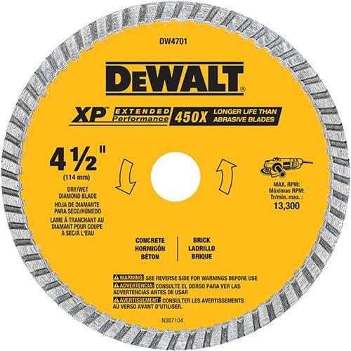 B0000224X2 DEWALT Diamond Blade, Dry or Wet Cutting, Continuous Rim, 7/8-Inch Arbor, 4-1/2-Inch (DW4701) 51ZbdtV2Bf2BL