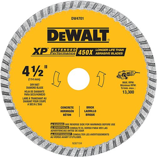 (DEWALT DW4701 Industrial 4-1/2-Inch Dry or Wet Cutting Continuous Rim Diamond Saw Blade with 7/8-Inch Arbor)