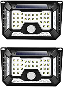 A.O.Y 4 Sides 66LED Outdoor Solar Lights 3 Modes Wireless...