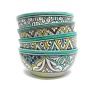 Juego de 4 cuencos marroquíes de colores con platos de