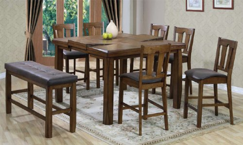 Counter Height Pub Table and 6 Pub Chairs and Pub Bench in Rustic ...