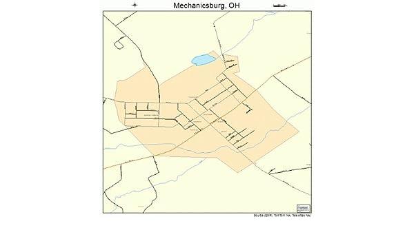 Mechanicsburg Ohio Map.Amazon Com Large Street Road Map Of Mechanicsburg Ohio Oh