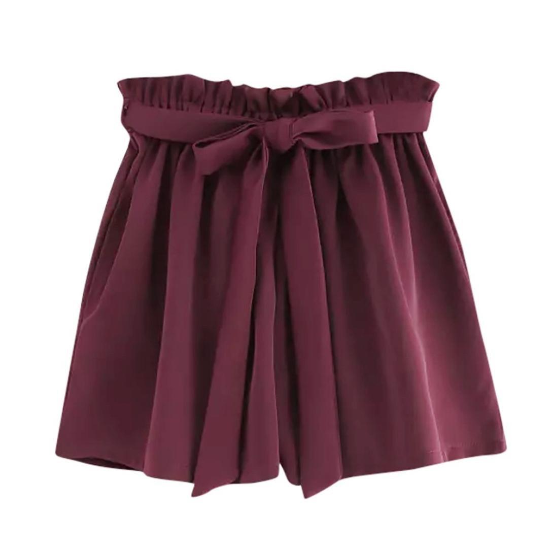 KOLY Donne Retro pantaloni casual solidi Fit tasca elastica in vita Pantaloni corti con corda sciolto pantaloncini a vita alta con cintura Pantaloni estivi Sport pantaloncini elastici