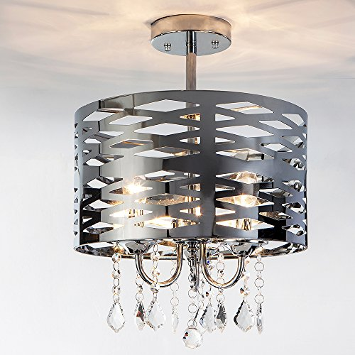 Delica Home 13'' 3 Light Semi Flush Mount Chrome Chandelier Ceiling Light, Drum Ceiling Light with Shining Crystal Beads, Polished Chrome