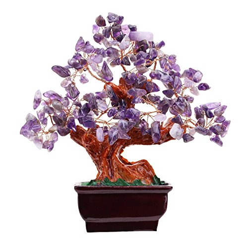 untain Amethyst Aventurine Rose Quartz Quartz Gem Stone Money Tree 7 Inch Purple Crystal Money Tree for Home Desk Decoration Health Wealth Symble (Amethyst) ()