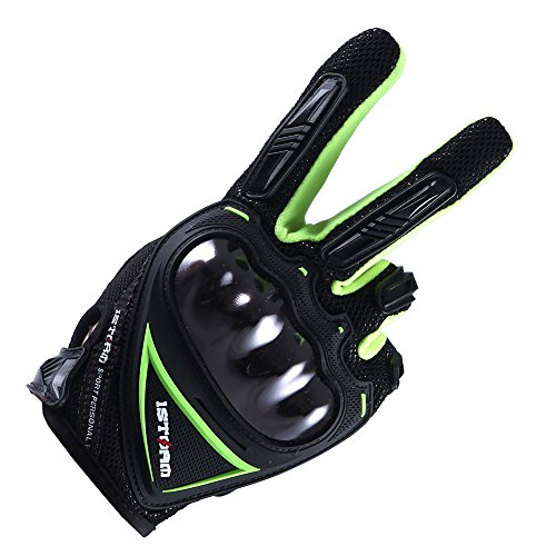 1Storm Motocross Motorcycle Gloves BMX MX Bike Bicycle Cycling Hard Reinforced Knuckle Touch Screen (Green,L)