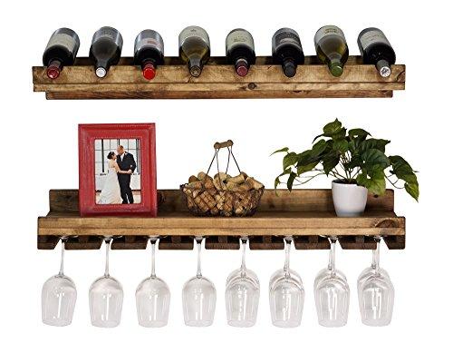 DAKODA LOVE - Rustic Luxe Tiered Wine Rack, USA Handmade, Pine Wood (Dark Walnut) (Tiered Wall Shelves)