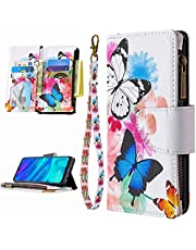 Miagon 9 Card Slots Wallet Case for iPhone 12 Pro,Colorful Zipper Wallet Cover PU Leather Magnetic Flip Folio Wrist Strap Stand Protective Bumper,Butterfly Flower