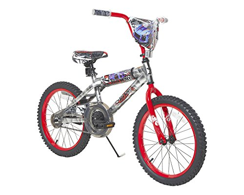 Hot Wheels Boys Dynacraft Bike with Turbospoke, Silver/Red, 18